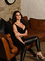 Charley S British Glamour Model - Charlotte Springer Teasing In Black Lingerie and PVC Pants