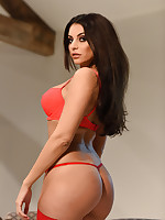Charley S British Glamour Model - Charlotte Springer Teasing In Red Lingerie and Stockings