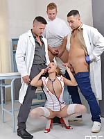 Goldfinger's Medication - Hot New Face Blows Three Cocks free photos and videos on OnlyBlowJob.com