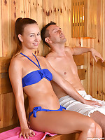 Sauna Throat Party  free photos and videos on OnlyBlowJob.com